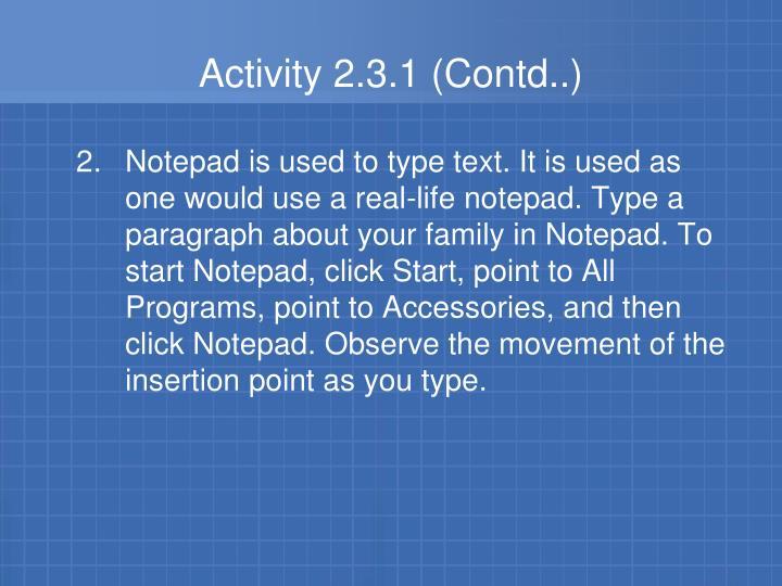 Activity 2.3.1 (Contd..)