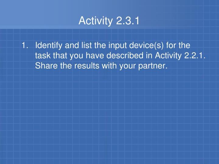 Activity 2.3.1