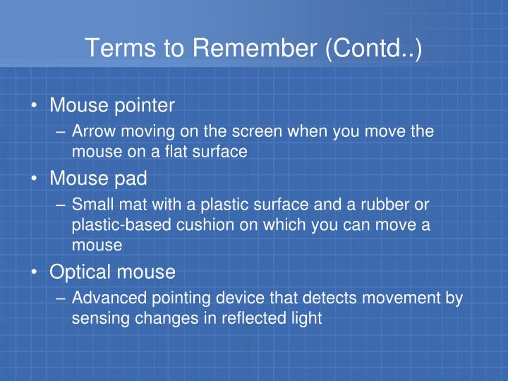 Terms to Remember (Contd..)