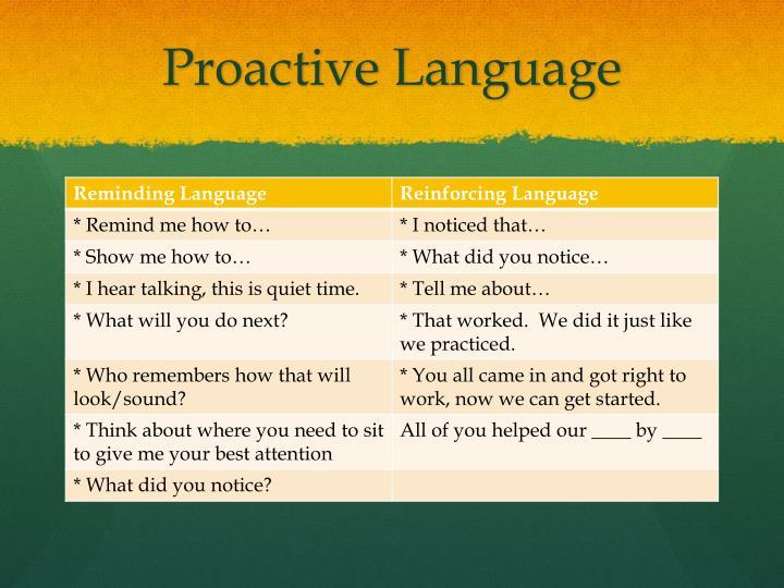 Proactive Language