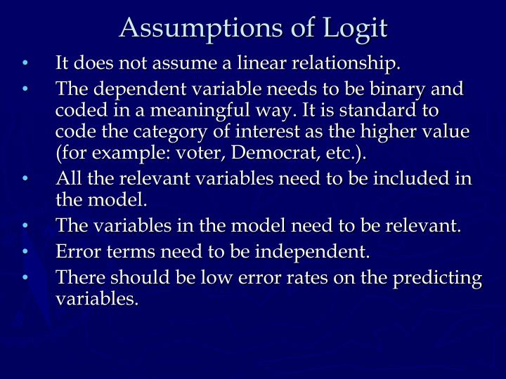 Assumptions of Logit