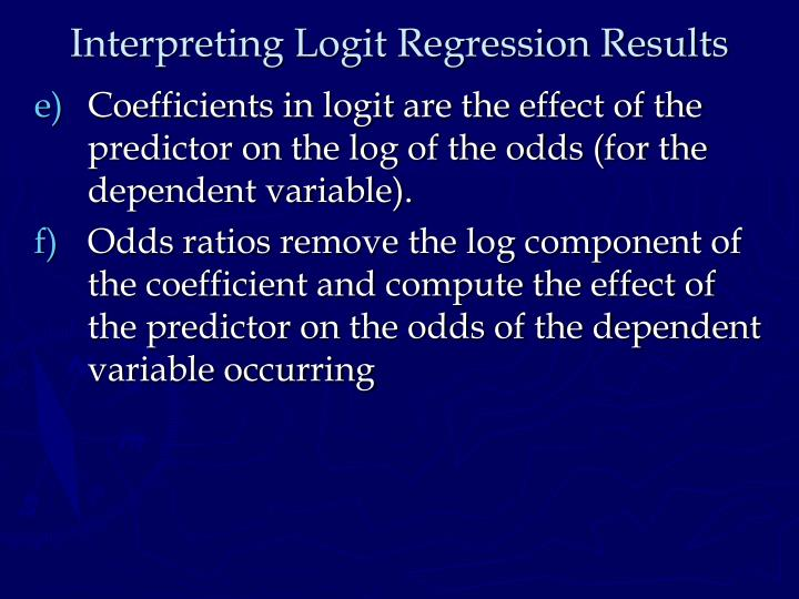 Interpreting Logit Regression Results