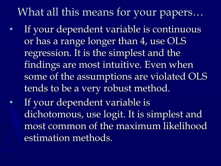 What all this means for your papers…