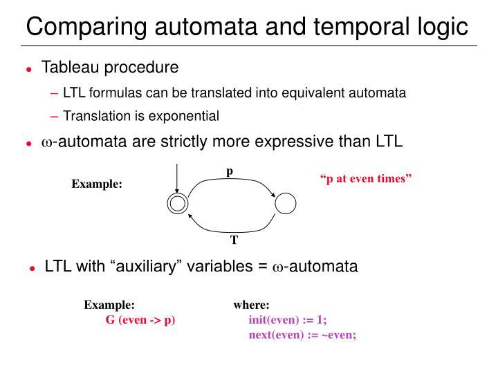 Comparing automata and temporal logic