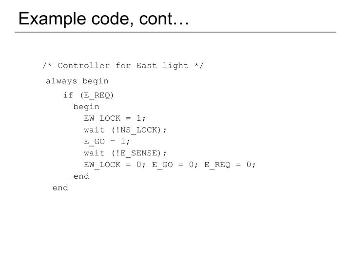 Example code, cont…