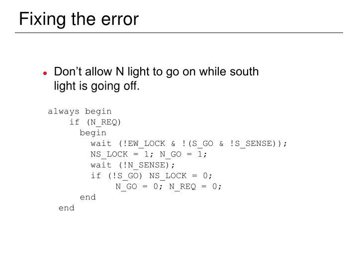 Fixing the error