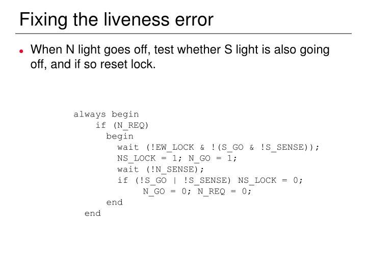 Fixing the liveness error
