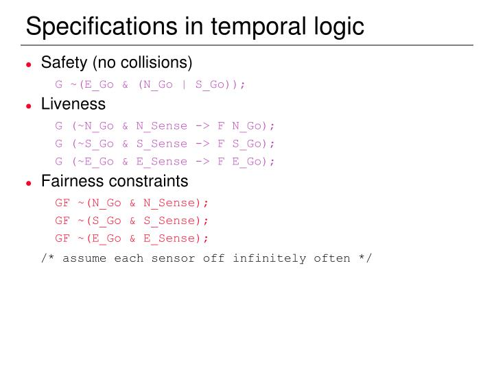 Specifications in temporal logic