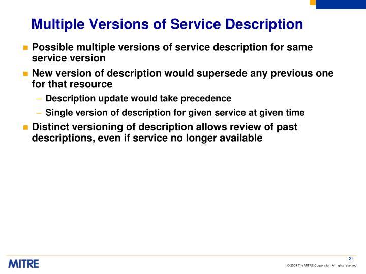 Multiple Versions of Service Description