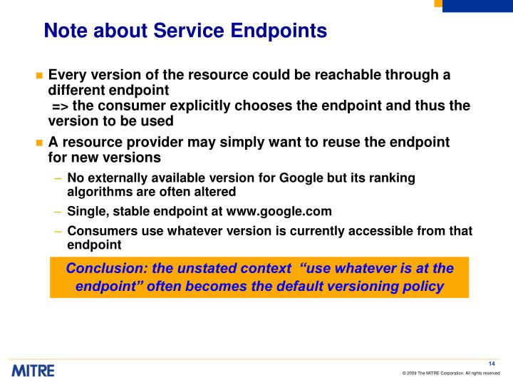 Note about Service Endpoints
