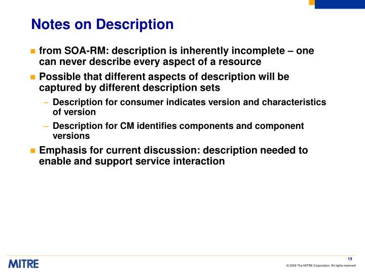 Notes on Description