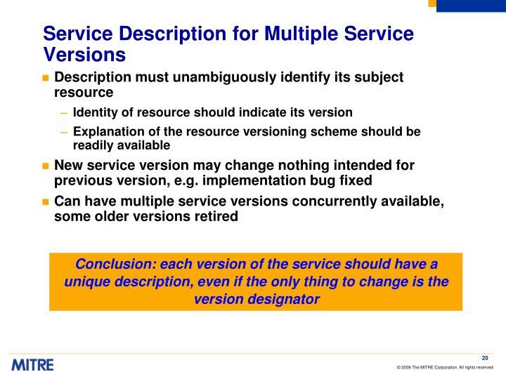 Service Description for Multiple Service Versions