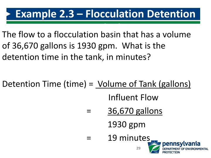 Example 2.3 – Flocculation Detention Time Calculation