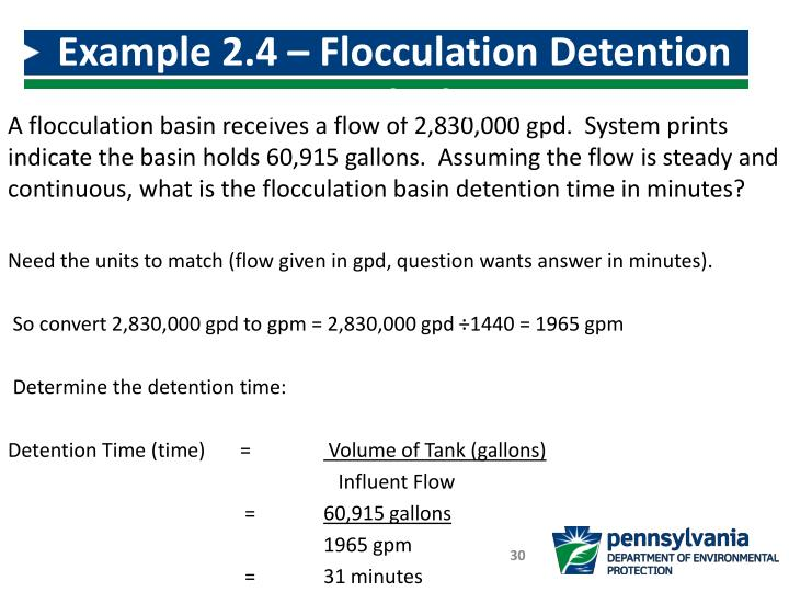 Example 2.4 – Flocculation Detention Time Calculation
