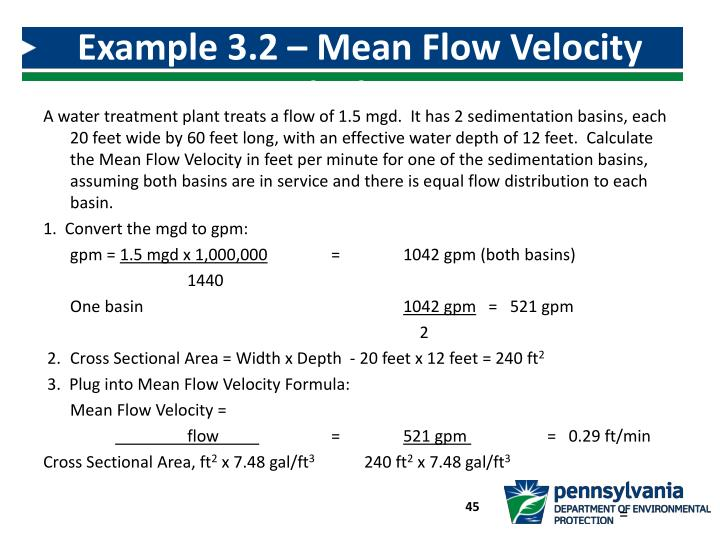 Example 3.2 – Mean Flow Velocity Calculation