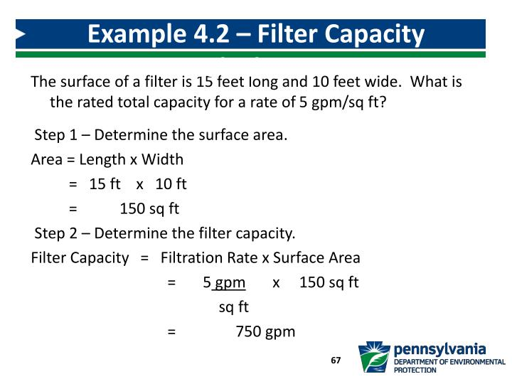 Example 4.2 – Filter Capacity Calculation
