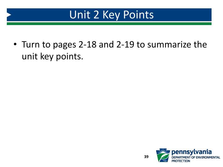 Unit 2 Key Points