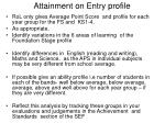 attainment on entry profile