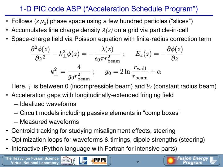 "1-D PIC code ASP (""Acceleration Schedule Program"")"