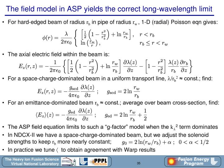 The field model in ASP yields the correct long-wavelength limit