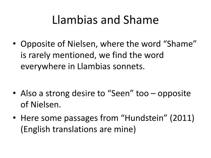 Llambias and Shame