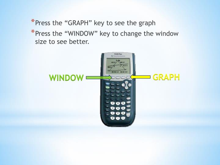 "Press the ""GRAPH"" key to see the graph"