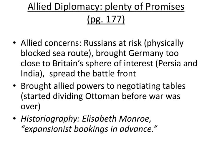 Allied Diplomacy: plenty of Promises