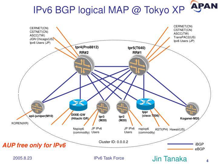 IPv6 BGP logical MAP @ Tokyo XP