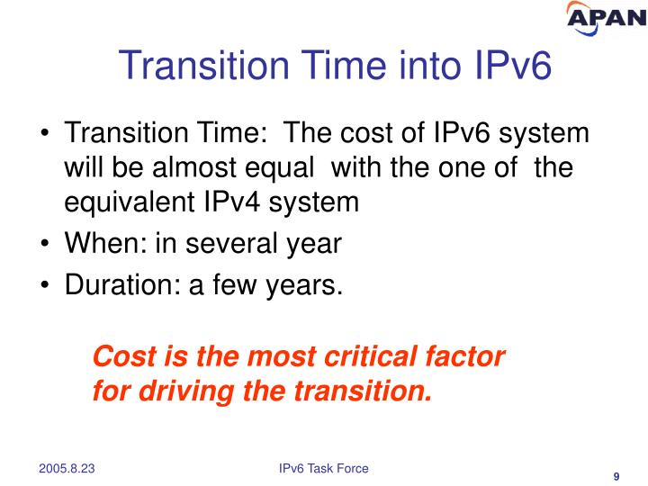 Transition Time into IPv6