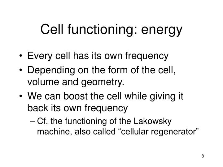 Cell functioning: energy