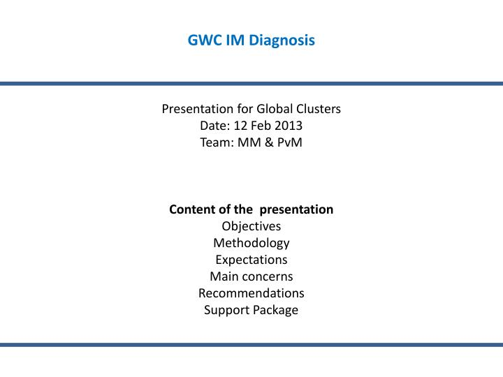 GWC IM Diagnosis