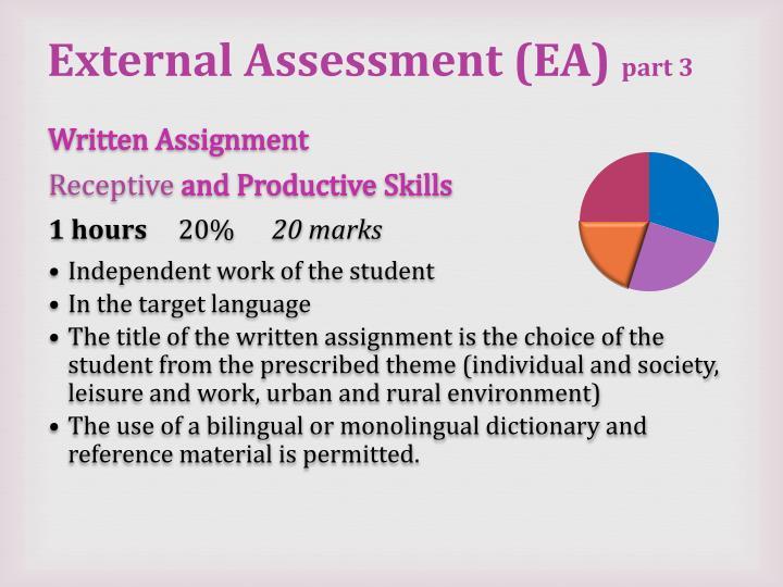 External Assessment (EA)