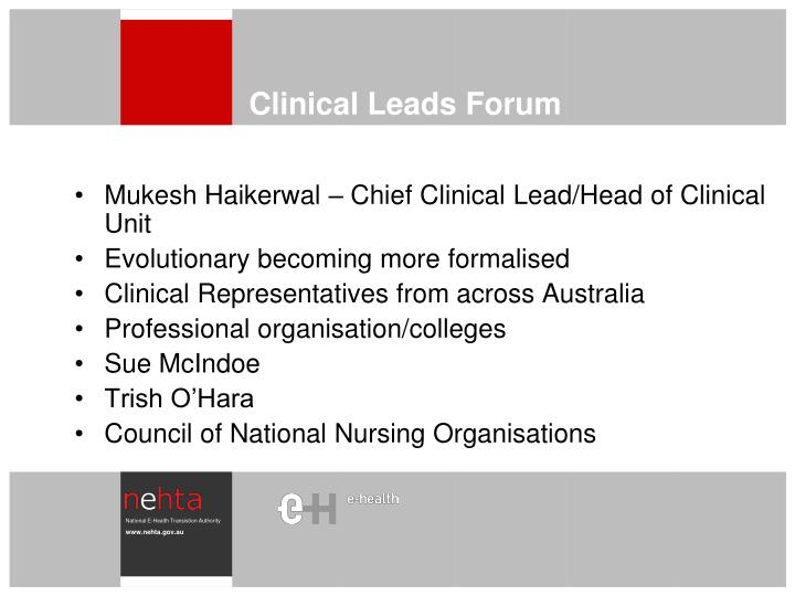 Clinical Leads Forum