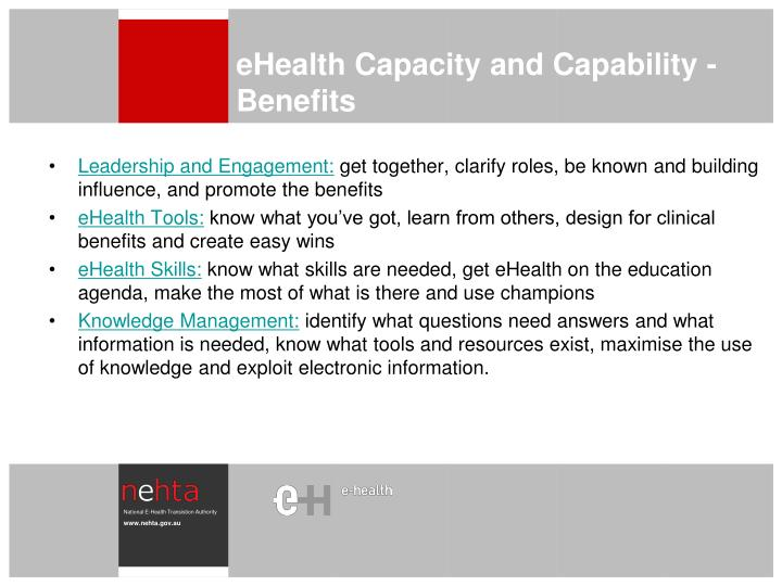 eHealth Capacity and Capability - Benefits