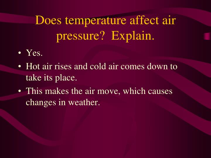 Does temperature affect air pressure?  Explain.