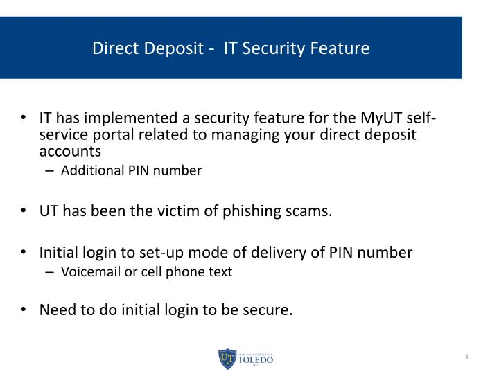 Direct deposit it security feature