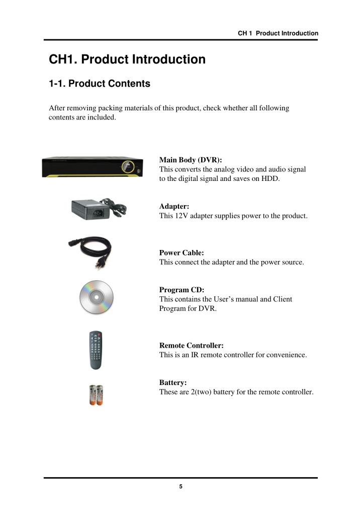 CH 1  Product Introduction