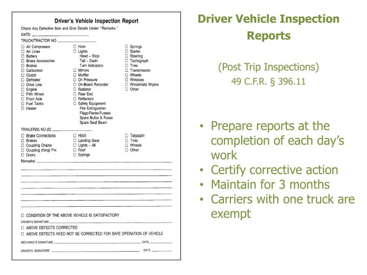 Driver Vehicle Inspection Reports