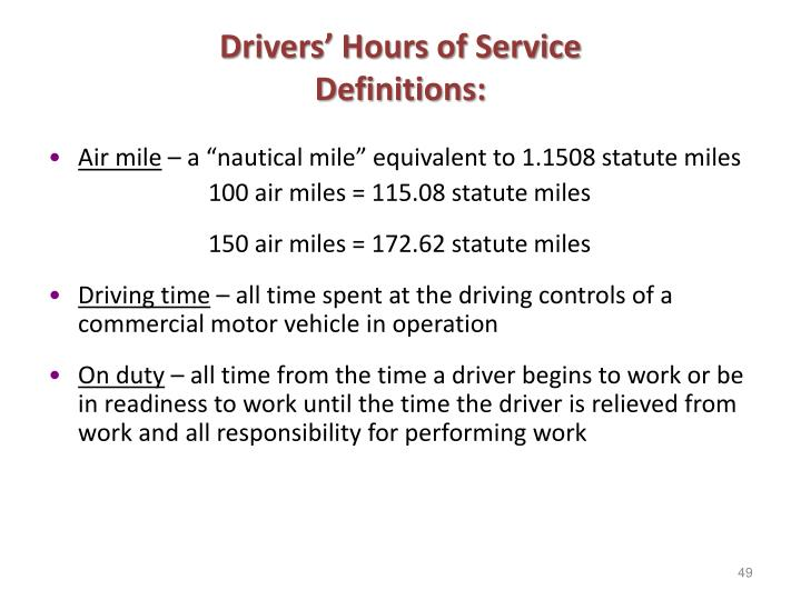Drivers' Hours of Service