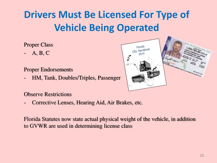 Drivers Must Be Licensed For Type of Vehicle Being Operated