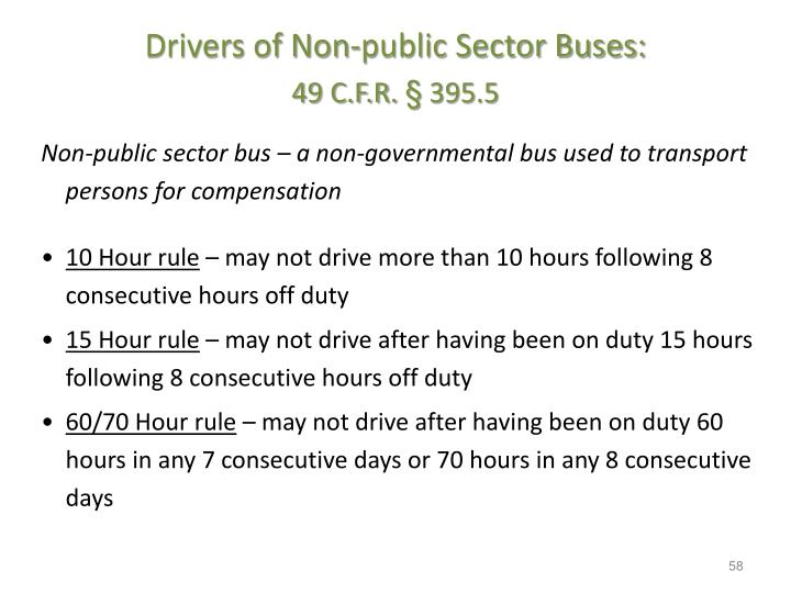 Drivers of Non-public Sector Buses: