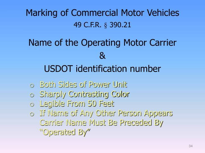 Marking of Commercial Motor Vehicles