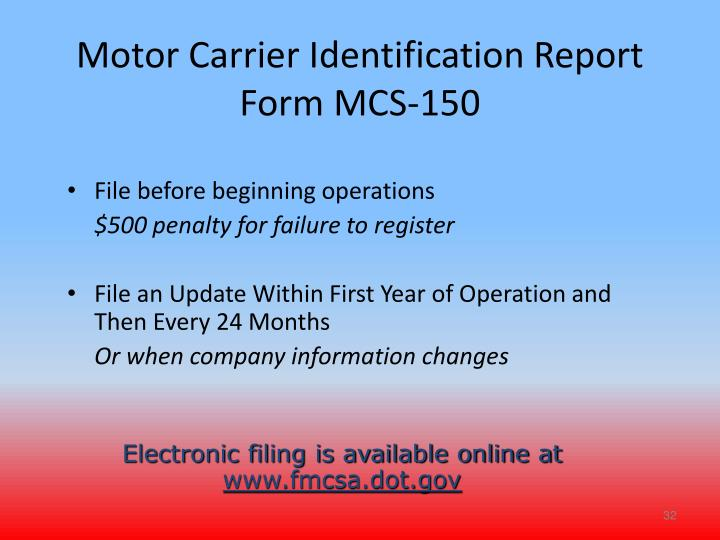 Motor Carrier Identification Report