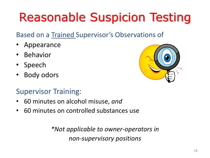 Reasonable Suspicion Testing