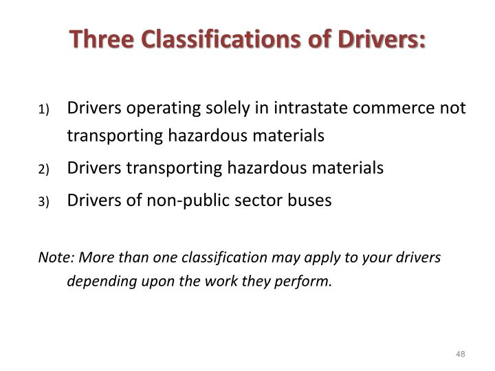 Three Classifications of Drivers: