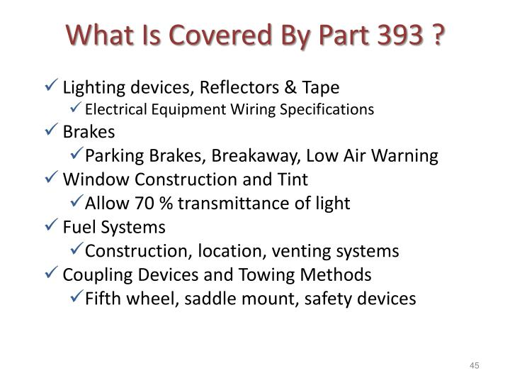 What Is Covered By Part 393 ?
