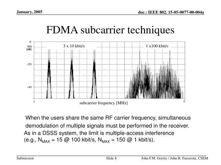 FDMA subcarrier techniques