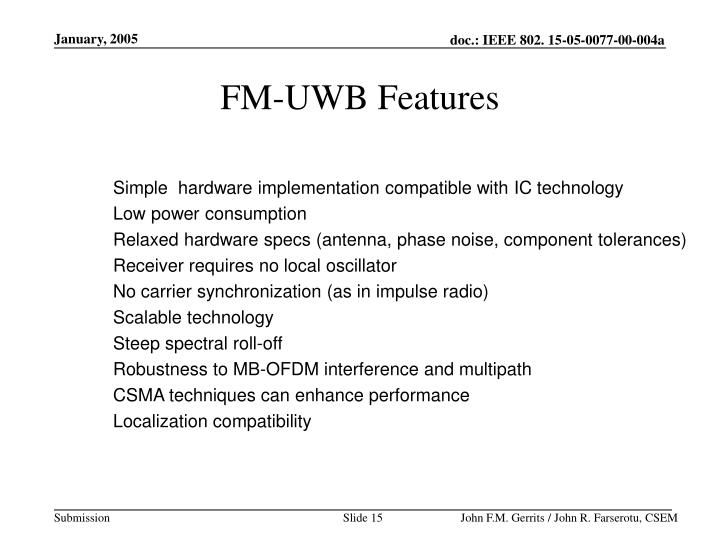 FM-UWB Features