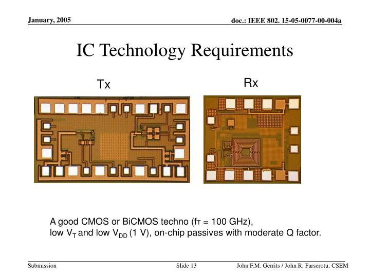 IC Technology Requirements