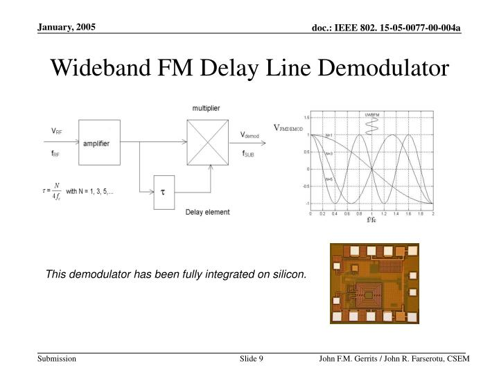 Wideband FM Delay Line Demodulator